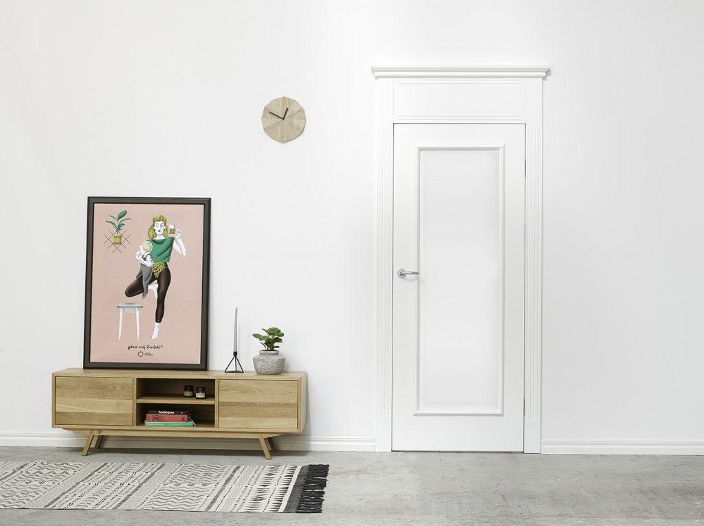 Białe drzwi drewniane FRESA - drzwi klasyczne malowane