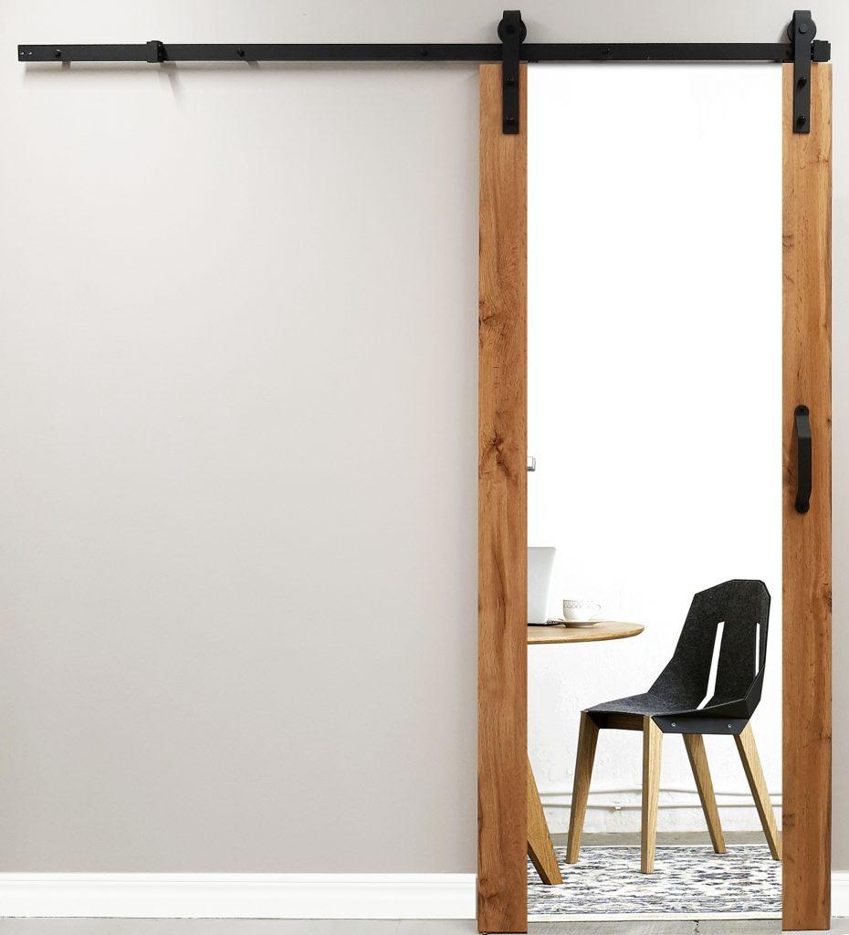 Drzwi wewnętrzne PŁASKIE z lustrem z systemem przesuwnym REA.