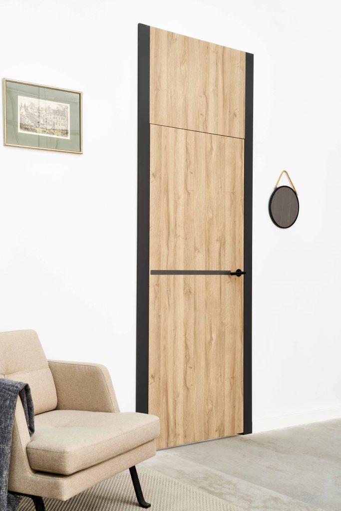 Drzwi ALBA COR 1 ze wstawką z Corianu.